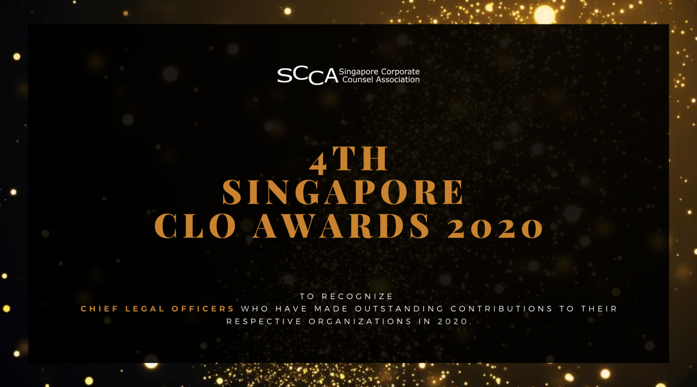 4th Singapore Chief Legal Officer Awards 2020 - Virtual Ceremony Event